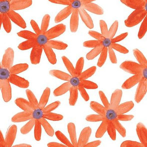 Orange Watercolor Daisies