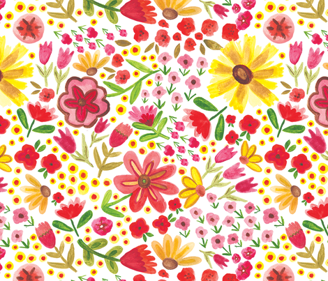 Summer Watercolor Flowers fabric by mkaybrinker on Spoonflower - custom fabric