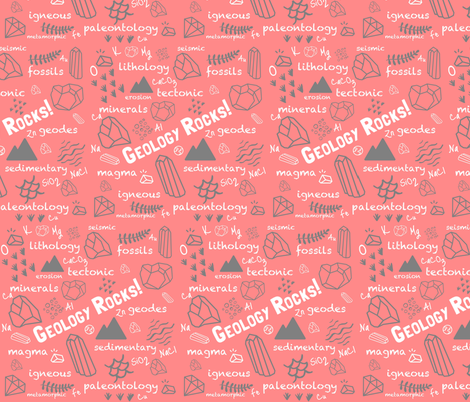 Geology Rocks!-Coral and Grey Color Scheme fabric by mamainthemoonlight on Spoonflower - custom fabric