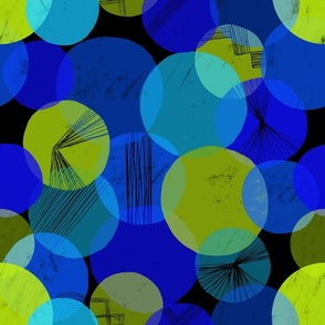 Bauhaus Bubbles (Blue & Green, Black background)