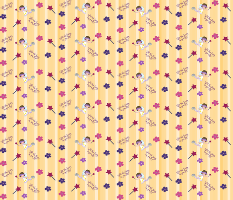 Yellow stripes fairy girl fabric by evault on Spoonflower - custom fabric