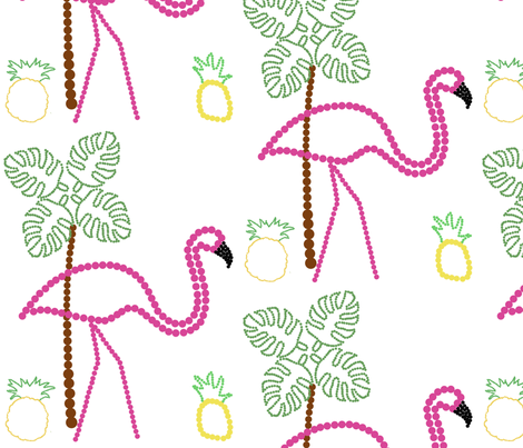 The Flamingo Makes an Interesting Point-illism  fabric by stella_and_joy on Spoonflower - custom fabric
