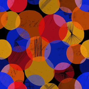 Bauhaus Bubbles (Primary colors, Black background)