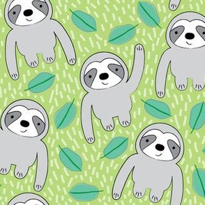 sloths and leaves on green