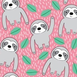 sloths and leaves on pink