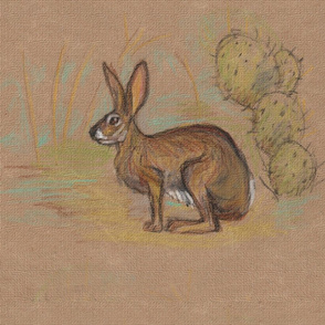 Jackrabbit and Cactus for Pillow