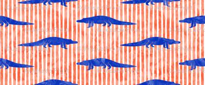 alligators - blue on  orange stripes