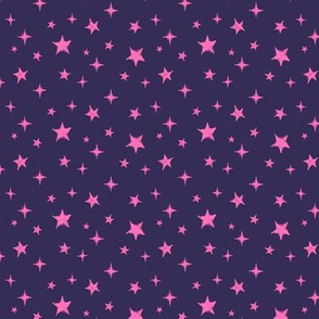 Stars - scattered - Navy / Pink