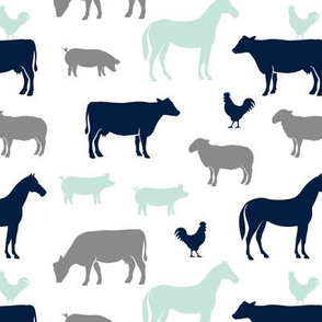farm animal medley - navy, mint, and grey C18BS