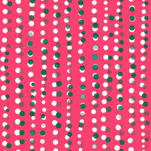 Dots in a Row Misaligned Pink Light Green