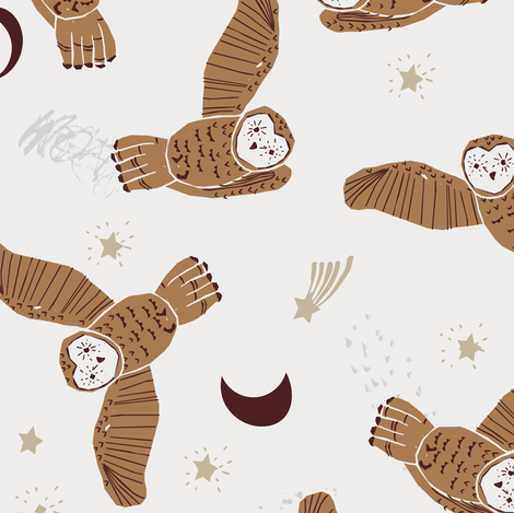 Night Owl (brown) MED fabric by nouveau_bohemian on Spoonflower - custom fabric