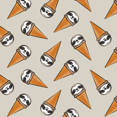 sloth icecream cones - toss on beige fabric by littlearrowdesign on Spoonflower - custom fabric