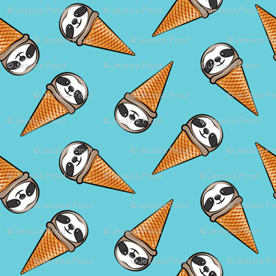 sloth icecream cones - toss on blue