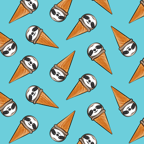 sloth icecream cones - toss on blue fabric by littlearrowdesign on Spoonflower - custom fabric