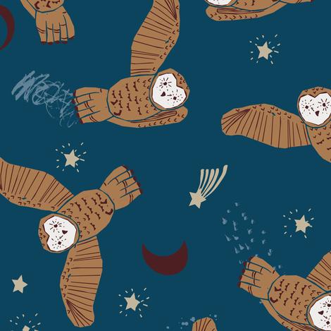Night Owl (dark) MED fabric by nouveau_bohemian on Spoonflower - custom fabric