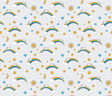 Happy Rainbow Party fabric by dacascas on Spoonflower - custom fabric