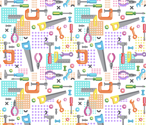 Girls Tools fabric by ruthburrows on Spoonflower - custom fabric
