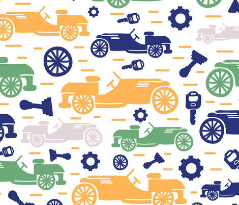 The Four Wheels fabric by gooloopi on Spoonflower - custom fabric