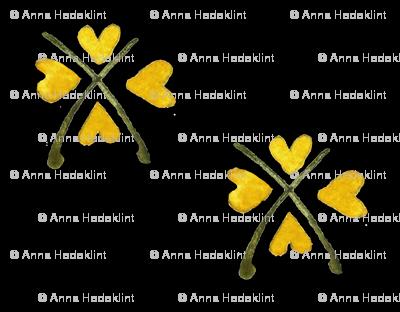 Yellow Hearts Folk art