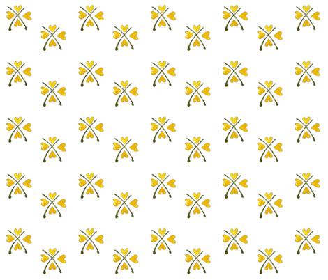 Yellow Hearts Folk art fabric by annahedeklint on Spoonflower - custom fabric