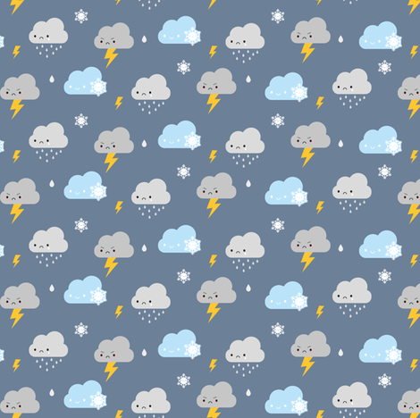 Kawaii Stormy Weather fabric by marcelinesmith on Spoonflower - custom fabric
