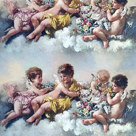 cherubs angels cupid inspired children boys wings pastel sky clouds seamless flowers floral roses wreaths crowns bouquet victorian shabby chic romantic egl elegant gothic lolita vintage antique baroque neoclassical  fabric by raveneve on Spoonflower - custom fabric