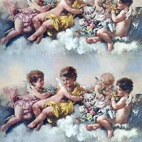 cherubs angels cupid inspired children boys wings pastel sky clouds seamless flowers floral roses wreaths crowns bouquet victorian shabby chic romantic egl elegant gothic lolita vintage antique baroque neoclassical