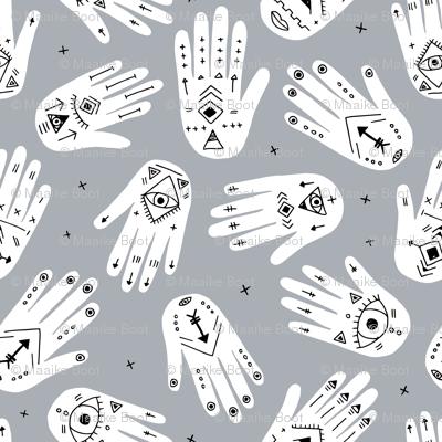 Cool aztec oriental hand of fatima indian summer hands gender neutral gray