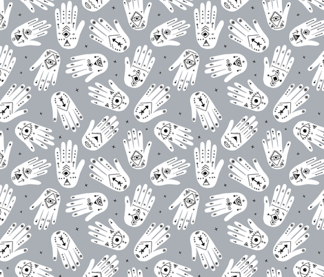 Cool aztec oriental hand of fatima indian summer hands gender neutral gray fabric by littlesmilemakers on Spoonflower - custom fabric