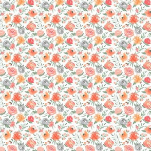 More Vibrant Small Sunset Floral - Watercolor Floral Fall Transition Flowers