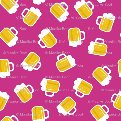 Traditional german oktoberfest beer holiday illustration print  pink SMALL