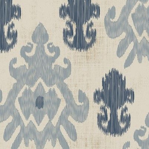 17-11G Distress  Ikat Home Decor  || Tan Oatmeal French blue grey gray Grunge Texture _ Miss Chiff Designs