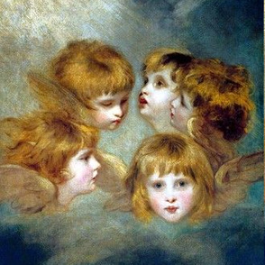 famous cherubs angels cupid inspired children girls wings sky clouds seamless victorian egl elegant gothic lolita sun rays shabby chic shining romantic antique vintage