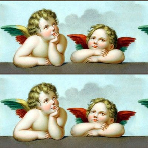 2 famous cherubs angels cupid inspired children boys wings sky clouds seamless victorian egl elegant gothic lolita romantic antique vintage