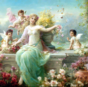 cherubs angels cupid inspired children boys wings pink white red yellow flowers floral victorian  beautiful lady nymphs woman butterfly gardens vines leaf leaves plants shabby chic butterflies beauty mythology maidens romantic egl elegant gothic lolita vi