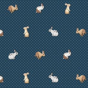 Tiny rabbits and spots white on navy