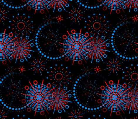 Fireworks black fabric by elizabethmay on Spoonflower - custom fabric