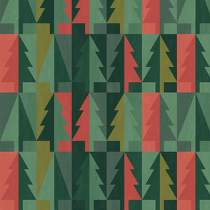 Emerald Christmas Winter Forest - Geometric