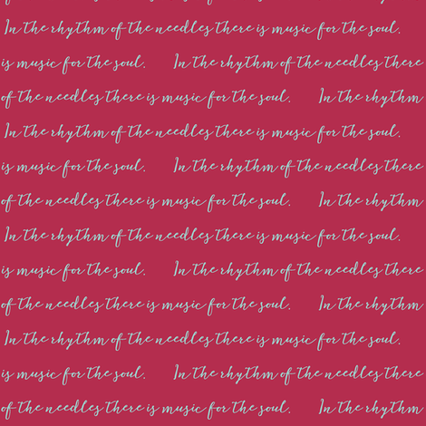 In The Rhythm of the Needles-bluegreen on red fabric by knitifacts on Spoonflower - custom fabric
