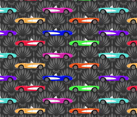 Vintage Corvette in a Rainbow of colors fabric by nissalynn on Spoonflower - custom fabric