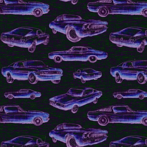 Muscle Cars - ultra violet on black - neon