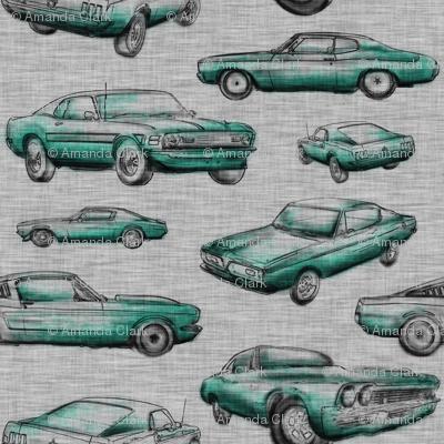Muscle Cars - Aqua on grey