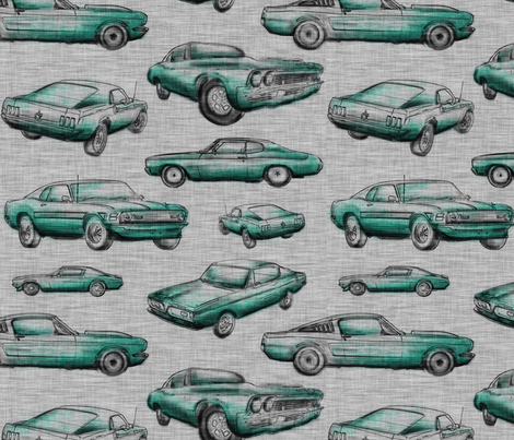 Muscle Cars - Aqua on grey fabric by sugarpinedesign on Spoonflower - custom fabric