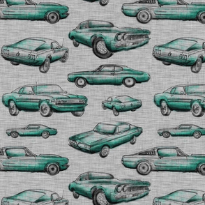 Muscle Cars - Aqua on grey