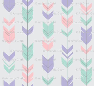 Arrow Feathers - pink, lilac, aqua on pale grey