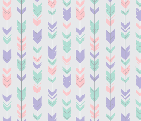 Arrow Feathers - pink, lilac, aqua on pale grey fabric by sugarpinedesign on Spoonflower - custom fabric