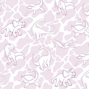 Dinosaurs are for Girls - Pink and White Background