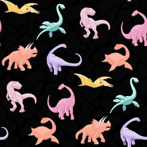 Dinosaurs are for Girls - Color and Black Background