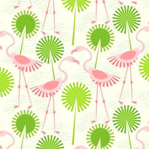 Flamingos and Polka Dot Palms on Ivory