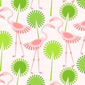 Flamingos and Polka Dot Palms on Pink
